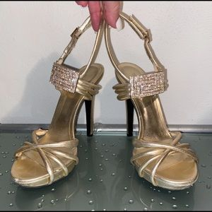 VERSACE Gold Leather Swarovski Crystal Sandals 38